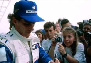 Ayrton Senna signs autographs in 1994