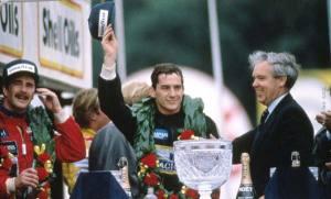 Ayrton Senna at podium 1985