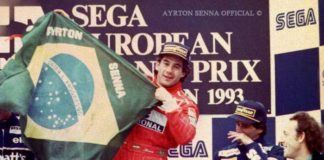 Ayrton Senna at Donington podium 1993