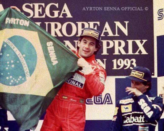 Ayrton Senna at Donington podium 1993