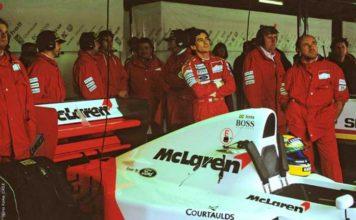 Ayrton Senna in McLaren garage