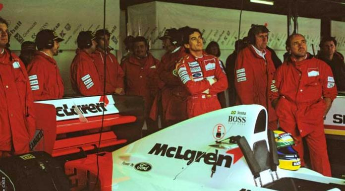 Ayrton Senna in McLaren garage