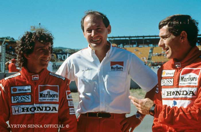 Ayrton Senna and Ron Dennis in 1988