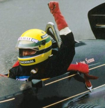Ayrton Senna at Estoril in 1985