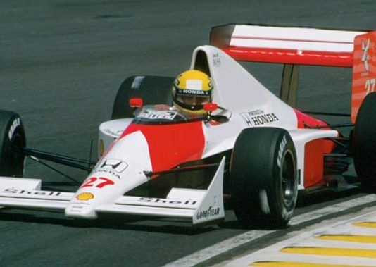 Ayrton Senna at Interlagos in 1990