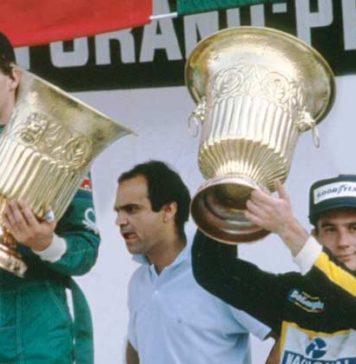 Ayrton Senna at podium