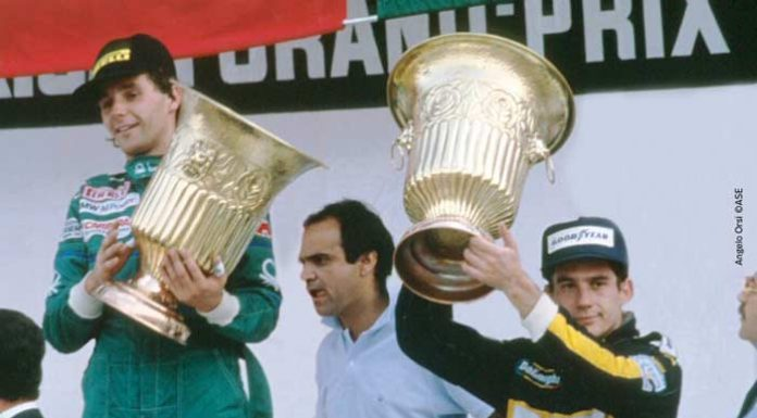 Ayrton Senna at podium