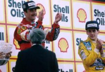 Senna and Mansellni at Podium
