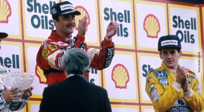 Senna and Mansellni at Podium