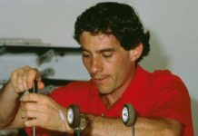 Ayrton Senna in garage