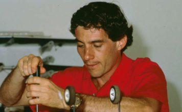 Ayrton Senna in garage