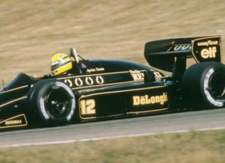 Ayrton Senna in his Lotus in 1986