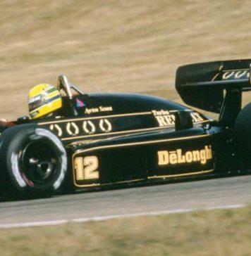 Ayrton Senna in his Lotus in 1986