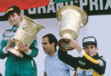 Ayrton Senna at Mexico podium in 1986