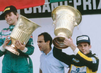 Ayrton Senna at Mexico podium in 1986