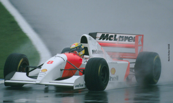 Ayrton Senna at Donington park in 1993