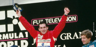 Senna at Suzuka podium 88