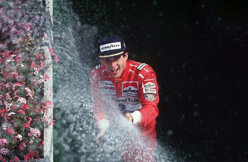 Ayrton Senna at Belgium podium