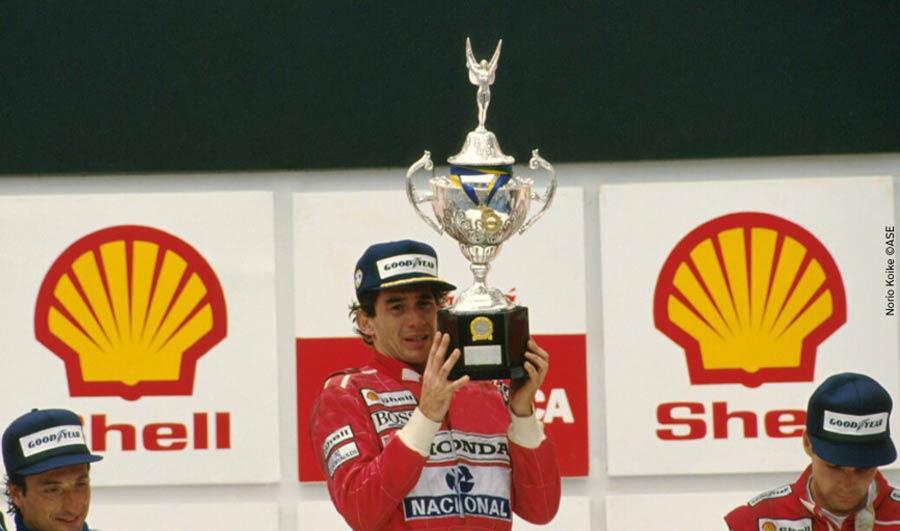 Ayrton Senna at Interlagos podium in 1991